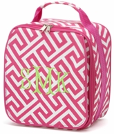 Pink Greek Key Personalized Lunch Tote