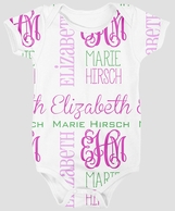 Pink & Green Monograms Personalized Onesie