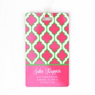 Pink & Green Quatrafoil Personalized Luggage Tags - SET OF 2