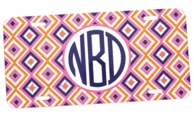 Pink Ikat Diamonds Monogrammed Car Tag