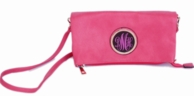 Pink Jackie Monogrammed Foldover Clutch