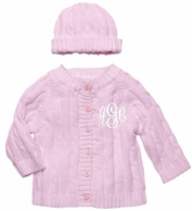 Pink Monogrammed Cable Knit Baby Sweater and Hat Set