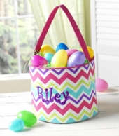 Pink Multi Chevron Personalized Easter Bucket
