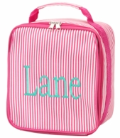 Pink Pinstripe Monogrammed Lunch Bag