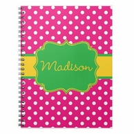 Pink Polkadot Flair Personalized Sprial Notebook