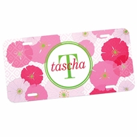 Pink Poppies Personalized Car Tag