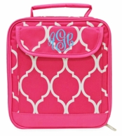 Pink Quatrafoil Monogrammed Lunch Tote