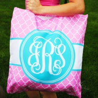 Pink Quatrafoil Personalized Oversized Yoga Tote