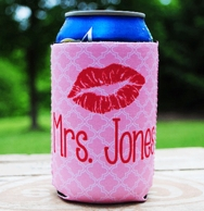 Pink Trellis Mrs Can Coozie