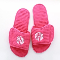 Pink Waffle Weave Monogrammed Spa Slippers