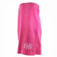 Pink Waffle Weave Monogrammed Spa Wrap