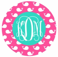 Pink Whales Monogrammed Coasters