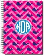 Pink Whales Personalized Spiral Notebook