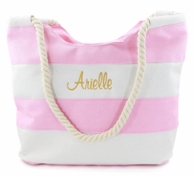 Pink & White Stripe Monogrammed Beach Tote with Rope Handles