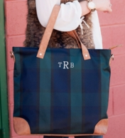 Plaid Monogrammed Tall Tote Bag