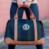 Plaid Monogrammed Weekender Travel Bag
