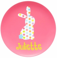 Polka Dot Bunny Personalized Kids Easter Plate