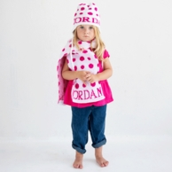 Polka Dot Personalized Knit Hat with Earflaps