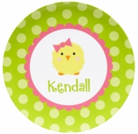 Polkadot Chickee Girls Personalized Plate