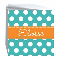 Polkadots Personalized Sticky Note Cube - CHOOSE YOUR COLORS!