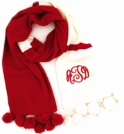 Red & Ivory Pom Pom Color Block Monogram Scarf