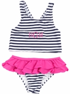 Prep Stripe Monogrammed Little Girls Swimsuit Set