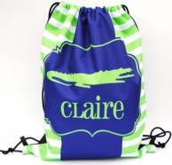 Preppy Gator Personalized Drawstring Backpack