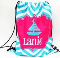 Preppy Sailboat Personalized Drawstring Backpack