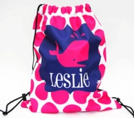 Preppy Whale Personalized Drawstring Backpack