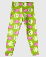 Preppy Whales Monogrammed Girls Leggings