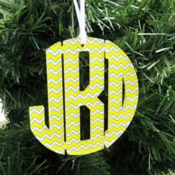 Print Monogram Acrylic Holiday Ornament - CHOOSE YOUR PATTERN!