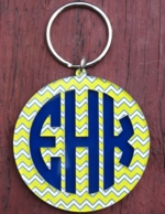 Print Round Monogram Layered Key Chain