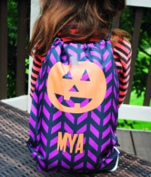 Pumpkin Chevron Personalized Halloween Drawstring Backpack