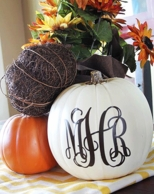 Pumpkin Monogram Decal - CHOOSE YOUR SIZE, FONT & COLOR!