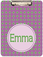 Purple Dots Personalized Clipboard
