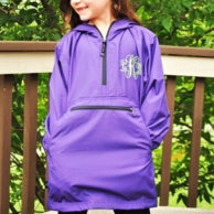 Purple Monogrammed Youth Pullover Rain Jacket