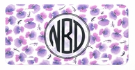 Purple Pansies Monogrammed Car Tag