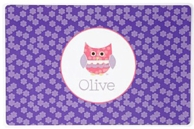 Purple Patchwork Owl Personalized Kids Placemat