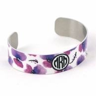 Purple Poppies Circle Monogram Skinny Cuff Bracelet