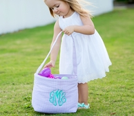 Purple Seersucker Personalized Easter Bucket
