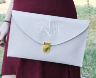 Putty Gray Monogrammed Leather Envelope Clutch Purse / Chain Purse