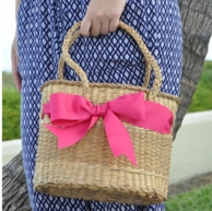 QB Bow Basket Bag - CHOOSE YOUR SIZE AND RIBBON!