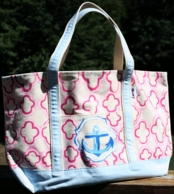 Quatrafoil Anchor Hand Painted Francesca Joy Large Tote
