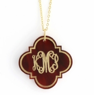 Quatrafoil Arabesque Monogram Acrylic Necklace