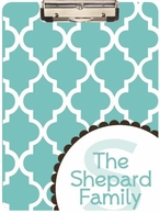 Quatrefoil Personalized Clipboard - CHOOSE YOUR COLOR