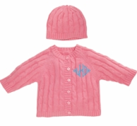 Raspberry Monogrammed Cable Knit Baby Sweater and Hat Set