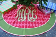 Red Argyle Monogram Christmas Tree Skirt