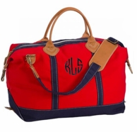 Red Canvas Monogrammed Weekender Travel Bag