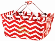 Red Chevron Monogram Large Market Tote
