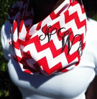 Red Chevron Monogrammed Infinity Loop Scarf